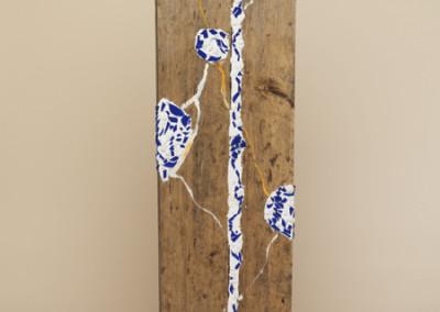 AZ 33, 109 x 30 cm, 2004, Wandobjekt aus Glas und Holz